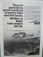 7/1974 PUB BELL HELICOPTER TEXTRON TWIN TURBINE UH-1N HELICOPTERE ORIGINAL AD