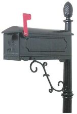 NEW SOLAR USA CAR100BO BLACK OLDE TOWN CAST ALUMINUM MAILBOX & POST KIT 6450340