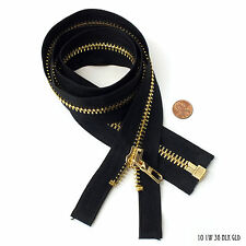 High Quality Zipper 1 Way Separating End, Black, Gold, Size 10, 36 inch