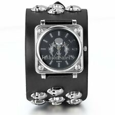 Men's Gothic Skull Sword Quartz Punk Wrist Watch Wide Black Leather Strap Cuff
