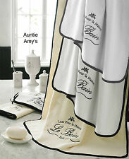 Kassatex Paris French Country Egyptian Cotton Le Bain 2 Bath Towels WHITE+BLACK