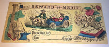 Antique Patriotic American Flag, Anchor, Dog & Boy with Whip! Reward of Merit!