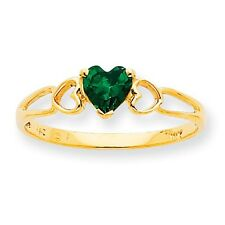 10k Yellow Gold Polished Geniune Heart Emerald Birthstone Ring