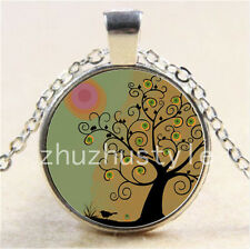 New Tree of Life&bird Cabochon Glass Tibet Silver Chain Pendant Necklace #F55