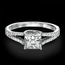 1 CT Diamond Engagement Ring Princess Cut D/VS 14K White Gold Enhanced