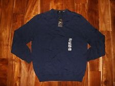 NWT Mens CALVIN KLEIN Navy Light Weight Merino Wool V-Neck Sweater Size L Large