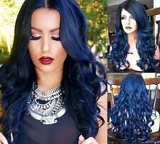 USA // Ombre Dark Blue LACE FRONT & Skin Top HEAT OK Dark Root Curly Navy Wig