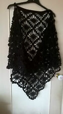 A Ladies hand crochet black with spakly thread  patterned  shawl