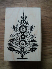 INKADINKADO WOODEN BACKED STEAMPUNK CHRISTMAS TREE RUBBER STAMP NEW *LOOK*