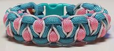 Stitched Solomons Dragon Turquoise & Pink Paracord Bracelet with White Stiching