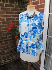 new 100% genuine KAREN MILLEN peplum zip front top BLUE IRIS print UK16 sz4 bnwt