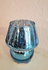 Windlicht / Glas / Teelicht / Teelichthalter / edel / Lampe blau Strass
