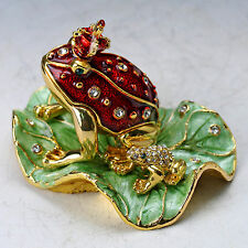 Chinese Collectable Cloisonne Inlaid Rhinestone Handwork Frog Statue