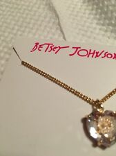 Betsey Johnson Mini Skull Cubic Zirconian Heart Pendant Necklace New