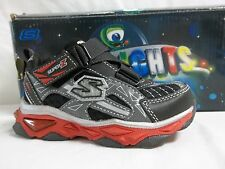 Skechers S Lights Size 6 Toddler Black Leather Light Up Sneakers New Boys Shoes