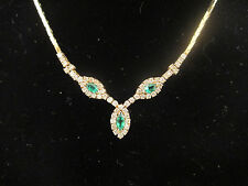 Estate Jewelry 14k Yellow Gold Necklace w/ Diamond & Emerald Pendant 15.5""