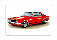 HOLDEN  68 '  HK  308  GTS MONARO   LIMITED EDITION CAR PRINT AUTOMOTIVE ARTWORK