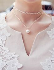 Delicate white lace Choker Pearl double clavicle necklace waves necklace NEW hot