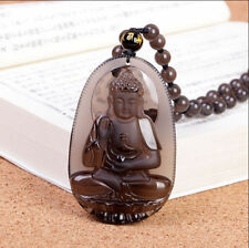 100% natural ice kinds of Obsidian patron amida Buddha pendant necklace