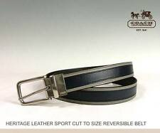 COACH~HERITAGE LEATHER SPORT CUT TO SIZE REVERSIBLE BELT~62354~SL/BLUE~NWT$148