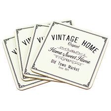 Set of 4 Drink Coasters Vintage Home Surface Protector Desk Table Coffee Tea Cup