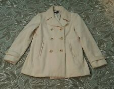 Lands End double breasted Wool PEA COAT women's 10 Winter White EUC