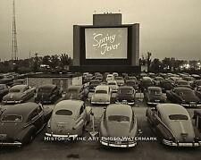DRIVE-IN MOVIE THEATER VINTAGE PHOTO NOSTALGIC CLASSIC CARS 8x10  #21666