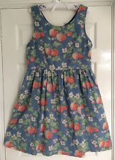 GORGEOUS CATH KIDSTON STRAWBERRY STRAWBERRIES DESIGN VINTAGE STYLE DRESS 16 VGC!
