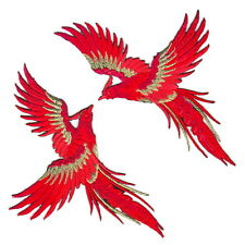 2Pc Red Phoenix Exotic Bird DIY Fabric Craft Embroidery Iron On Appliqué Patch