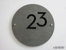 Modern House Numbers , Round Concrete & Black Acrylic- Sign Plaque - Door Number