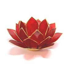 Red with Gold Trim Lotus Flower 1st Chakra Tea Light Candle Holder & Candle