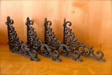 4 ANTIQUE-STYLE VINE FLEUR DE LIS CAST IRON SHELF BRACKETS braces wall hardware