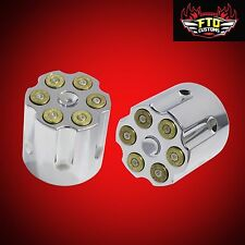 Bullet Revolver Style Chrome Front Axle Nut Covers for Harley Fatboy