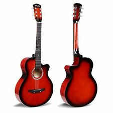 "38"" Red Acoustic 6 String Guitar For Beginners School Student Adults Xmas Gift"