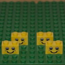 Lego lot de 6 briques jaunes 1 x 2 (3004). avec visage nouveau design.
