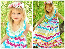 Girls size 3T/4T  Boutique Rainbow Multi Color Chevron Maxi Dress Toddlers NWT