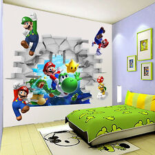 SUPER MARIO BROS Wall Stickers Removable Art Decor Nursery Boy Kid Bedroom Vinyl