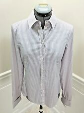 NWT  HUGO BOSS Womens Button Front Shirt Top White Lavender Striped size 6