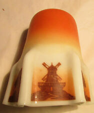 VINTAGE/COLLECTABLE GLASS LAMPSHADE-WINDMILL & TREE PATTERNS WHITE AND TERRACOTA