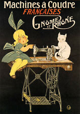 SEWING MACHINE GIRL WHITE CAT MACHINES COUDRE FRENCH VINTAGE POSTER REPRO SMALL