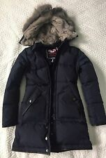 EUC $695 Pajar Cougar Navy Down Parka Jacket Coat Real Silver Fur XXS/XS 00 0