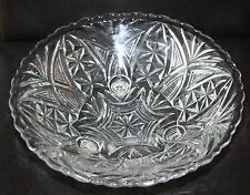 Anchor Hocking Thousand Line Stars and Bars Scalloped Footed Bowl
