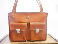 THE TREND Vintage Italian Glossy Cognac Brown Leather Shoulder Tote Bag Purse