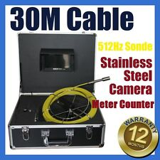 30M Snake Cable Sewer Drain Pipe Wall Camera w 512HZ Locator Sonde Meter Counter