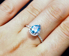 2.95ct VS Pear Blue Topaz & Diamond 14k White Gold Pave Engagement Wedding Ring
