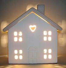Cream Ceramic House Heart Window Table Side Lamp Nursery Kitsch NEW Home Gift