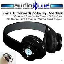 AudioBLUE Bluetooth 3-in-1 Stereo Headset connect BT Phone Pad FM Radio MP3 Play