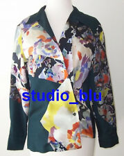 DRIES VAN NOTEN Green Floral Print Silk Wool Top 36 4 6