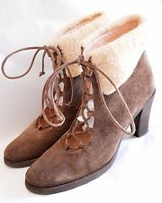 HOBBS suede leather 1930's 40's style snow boots WINTER sheepskin borg 7 7.5 40