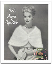 1950's Angora Cape Stole - Vintage Knitting Pattern Copy